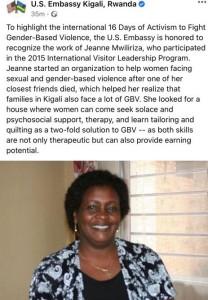 Würdigung von JEanne Mwiliriza durch die amerikanische Botschaft in Kiglai